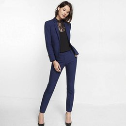 $enCountryForm.capitalKeyWord NZ - Navy Blue Womens Suit Slim Fit Women Tuxedos Shawl Lapel Suits For Women One Button Formal Business Women Suits Two Piece Sets