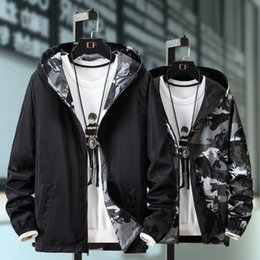 Wholesale fashion dust coats for sale - Group buy Dust Coats Big Yards Both Sides Wear Camouflage Hooded Jacket Fashion Men s Coat in Spring Autumn Thin Coat European and American
