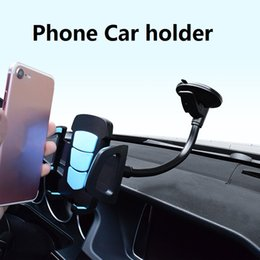 Wholesale Universal Long Arm Windshield mobile Cellphone Car Mount Bracket Holder for your mobile phone Stand for iPhone GPS MP4 with Retail Packaging
