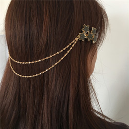 $enCountryForm.capitalKeyWord Australia - PRETTY GOLD COLOR PLATING STAR CLIP WITH CHAIN HAIR WEAR FOR WOMEN GIRL