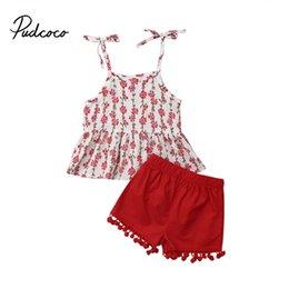 $enCountryForm.capitalKeyWord Australia - Pudcoco US Stock Fashion Toddler Kids Baby Girls Clothing Set Cotton Printed Sling T-shirt Tops+ Red Shorts Outfits 2PCS Set