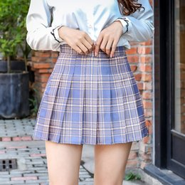 girls short pleated skirts UK - Harajuku Short New Korean Skirts Women Zipper High Waist School Girl Pleated Plaid Sexy Mini Skirt Plus Size Y200704