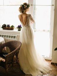 Старинные пляжные свадебные платья Половина рукава Scoop шеи кружевной топ линии Длина пола спинки Boho Свадебные платья на заказ на Распродаже