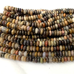Wholesale stones resale online - 15 quot Natural White Brown Silver leaf jasper mix stones Rondelle Loose Stone Beads Fit Jewelry DIY Necklaces or Bracelets