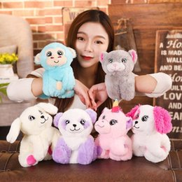 blue unicorn toy UK - Cute animals plush toys wristband soft Squishy gifts kids baby wrist band Unicorn Arm Huggers Stuffed cartoon Animal Pop Bracelet QQA230