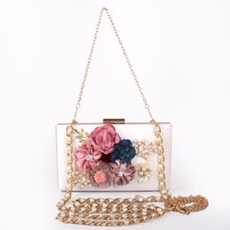 $enCountryForm.capitalKeyWord Australia - JIULIN Fashion Stereo Flower Dinner Bag Pearl Silk Flower Handbag Back Chain Girl Bag Bride Handbag