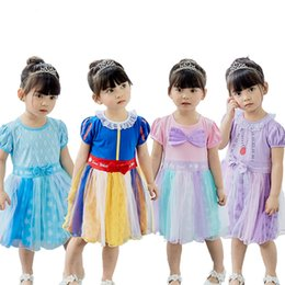 $enCountryForm.capitalKeyWord Australia - Kids Girls Summer Cartoon Dresses 5+ Cosplay Short Sleeve Bow Tie Printed Lace Mesh Dress Kid Designer Girls Clothes Party Costume 1-6T