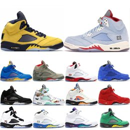$enCountryForm.capitalKeyWord NZ - Hot Sale Michigan Inspire Trophy Room 5s Ice Blue Men Basketball Shoes 5 Laney Yellow Bred Red Suede Metallic Black Sports Sneakers