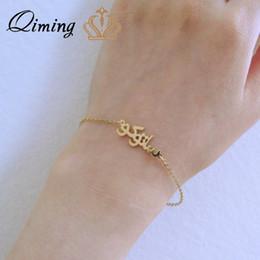 $enCountryForm.capitalKeyWord Australia - QIMING Rose Gold Islam Jewelry Custom Any Name Letter Bracelets For Women Girls Party Birthday Gift Vintage Chain Link Bracelet
