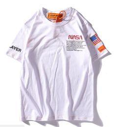 $enCountryForm.capitalKeyWord NZ - Summer NASA T-shirts fashion Short sleeve Tops white loose men and women T-shirt sweater loose T-shirt Couple hoodie wholesale