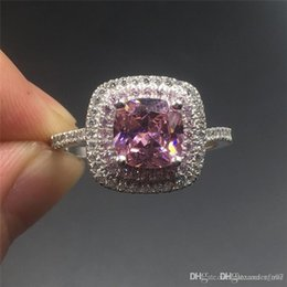 Princess cut gemstone rings online shopping - Fine Jewlery Brand silod Sterling silver ring Luxury Princess cut ct pink toazp gemstone ring Engagement wedding bried ring for women