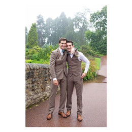 $enCountryForm.capitalKeyWord UK - Brown Wedding Tuxedos Herringbone Wool Suits Business Suits Men's Goorm Suits Three Piece (jacket+vest+pants)