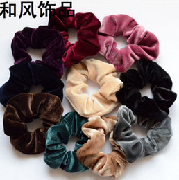 Wholesale and retail New Women Velvet Elastic Hair Scrunchie Scrunchy Hairbands Head Band Ponytail Holder middle size free shipping
