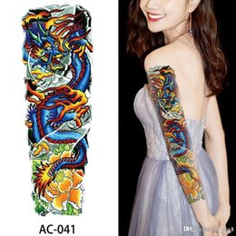 wholesale body sexy tattoos NZ - 48*17CM Sexy Colorful Flower Waterproof Temporary Tattoos Sleeve Women Removable Body Tattoo Stickers Tattoo Paste Pattern