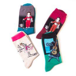 $enCountryForm.capitalKeyWord Australia - mens women designer socks sock with the same paragraph oil painting men's cotton tube casual foreign trade tide socks