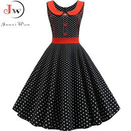rockabilly pin up UK - Black Polka Dot Printed Vintage Dress Women Summer Retro 50s 60s Pin Up Rockabilly Party Dress Robe Vestidos Plus Size