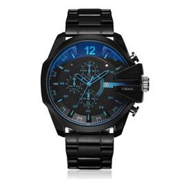 Big Case Wrist Watches Australia - Fashion TOP Brand Men's Big Case Mutiple Dials stainless steel band Date Quartz Wrist Watch 4318