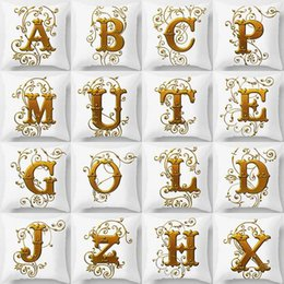 decorative european pillow covers 2019 - European Retro style Home Decorative Cushion Cover Gold 26 English Letters Polyester Pillow Cover Hotel Cafe Car Seat Pi