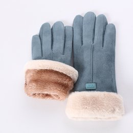 cashmere gloves UK - New Winter Female Lace Warm Cashmere Three Ribs Cute Bear Mittens Double thick Plush Wrist Women Touch Screen Driving Gloves 81C