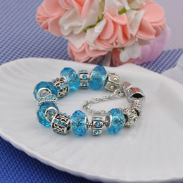 $enCountryForm.capitalKeyWord NZ - Fashion Silver Plated Charm Bracelets Women Designer Turquoise Diamonds Beads Butterfly Crystal Fit Pandora Bangles Jewelry Package P13