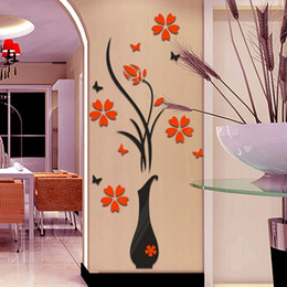 Discount small vases for flowers % plant Vase Flower Tree butterfly 3D DIY Wall Stickers Decal Home Decor Wallpapers Living rooms Kitchen bedroom Decorations