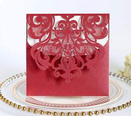 $enCountryForm.capitalKeyWord NZ - 150*150MM Laser Cut Hollow Flower Wedding Invitations Cards with Crystal 2018 High Quality personalized Bridal Invitation Card Cheap