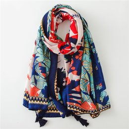 Discount spain scarfs - Ladies Fashion Spain Brand Floral Viscose Scarf Autumn Winter Print Thick Shawls and Wraps Stole Muslim Hijab Snood