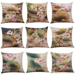 Pillows Blue Chinese Print Australia - Chinese Painting Lotus Linen Cushion Cover Home Office Sofa Square Pillow Case Decorative Cushion Covers Pillowcases Without Insert(18*18)
