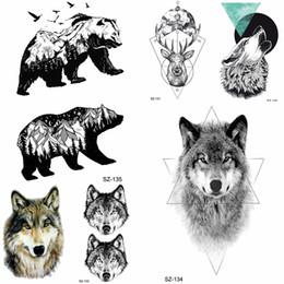 6e536b558c47a Tattoos Wolves Canada - YURAN Geometric Wolf Temporary Tattoo Stickers Women  Birds Bear Water Transfer Tatoos