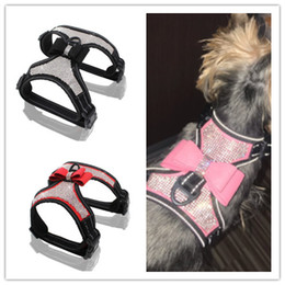 MediuM rhinestone dog harness online shopping - Reflective Dog Harness Nylon Pitbull Pug Small Medium Dogs Harnesses Vest Bling Rhinestone Bowknot Dog Accessories Pet Supplies