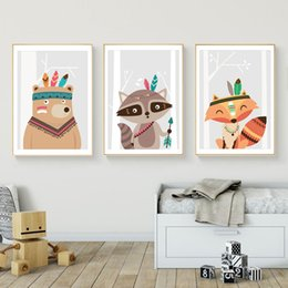 pictures for nursery walls NZ - 3pcs Nordic Animal Poster Fox Bear Raccoon Wall Pictures for Kids Rooms Boys Girls Nursery Wall Art Decor Unframed