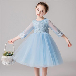 White Clothes For Baptism Australia - 2019 New Elegant Tulle Flower Girl Dress for Wedding Half Appliques Kids Dress Birthday Party Princess Baptism Clothes First Communion Gown