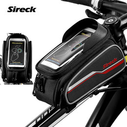 Wholesale Sireck Bike Bicycle Large Capacity Frame Bag Touchscreen Top Tube Bag For Inch Phone Reflective Cycling Front Pannier