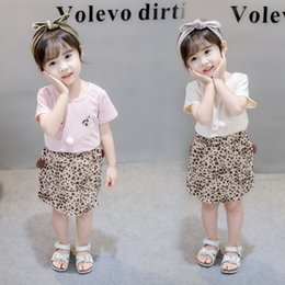 Clothing For Girls Wholesales Australia - Pink Girls Summer Clothes Cotton Stylish Leopard Printed Sports Suit for Baby Girl Cat Ear T-Shirt + Shorts Children Clothing Outfit