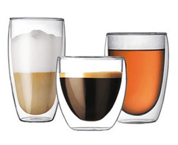 Wholesale Beer Mugs Glasses Australia - Handmade Heat Resistant Double Wall Glass Tea Drink Cup Insulated Clear Glass Beer Tea Mugs Drinkware Gift 80 250 350 450 650ML
