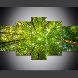 $enCountryForm.capitalKeyWord Australia - 5 Piece Large Size Canvas Wall Art Pictures Creative Green Leaves of Forest Trees Art Print Oil Painting for Living Room