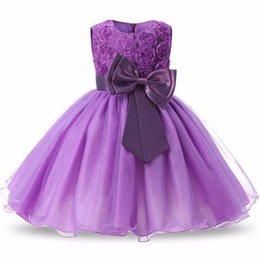 American Occasion Dresses Australia - Girl's Bow Dress with flowers kids princess dress Party Birthday wedding dress formal occasion eight colors children's clothes