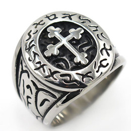 $enCountryForm.capitalKeyWord Australia - Titanium steel Leetspeak Cross Charms Mens Jewelry Rings Designer Love Brand Men Ring Charm Fashion Designer Jewelry Men Rings