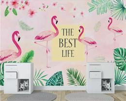 Cloth Meters Australia - High Quality Stylish Silk Cloth Wallpaper Nordic Tropical Rain Forest Flamingo Living Room Tv Background Papier Peint