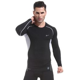 Wholesale Men Fitness Basketball Running Sports T shirts long sleeve Thermal Muscle Bodybuilding Gym Compression Tights Jacket sweater tees Best TEE