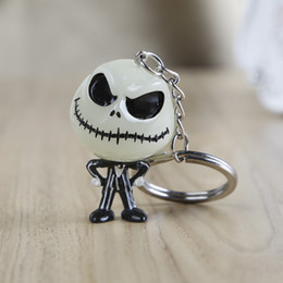 figure nightmare NZ - The Nightmare Before Christmas Keychain Jack Skellington Key Ring Hanger The head glowed in the dark figure toy key chain