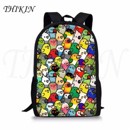 little backpacks for girls 2019 - THIKIN Cute Cartoon Little Parrots Print Girls Backpack for School Classic Personalized Kids Bagpack Popular Boys Satche