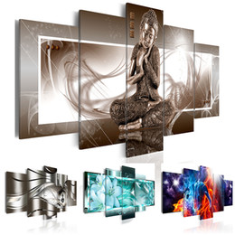 Painting Lily Australia - 5PCS Set Fashion Wall Art Canvas Painting Buddha Metal Abstract Fiery Love Lily Flower Modern Home Decoration,Choose Color:4 And Size:2(No F
