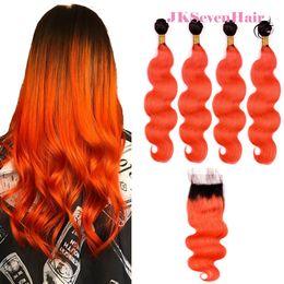 $enCountryForm.capitalKeyWord Australia - 1B Orange Ombre Brazilian Virgin Hair Extensions Body Wave 4pcs With 4x4 Inch Lace Closure Dark Root Orange Malaysian Indian Hair Wefts