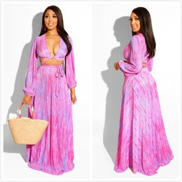 Pink Velour Set Australia - Pink Thin Stripes Elegant Women Bohemian Dresses 2019 Newcoming Deep v Neck Long Sleeves Short Top and Long Skirt Two Pieces Dress Sets