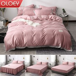 Silk tencel duvet coverS online shopping - 4pcs Home Textile silk tencel bedding set solid bed sheet duvet cover sheet Bed skirt Fitted Flat