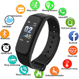 $enCountryForm.capitalKeyWord Australia - C1Plus Smart Bracelet Color Screen Blood Pressure Fitness Tracker Heart Rate Monitor Smart Band Sport for Android IOS (Retail)