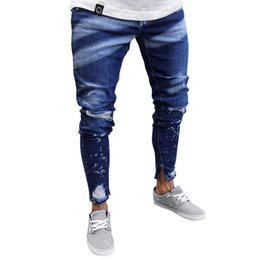 painting clothing UK - MISSKY Men Jeans Long Pants Blue Color Painting Zipper Slim Distressed Jeans Pants for Outdoor Daily Wear Male Clothes