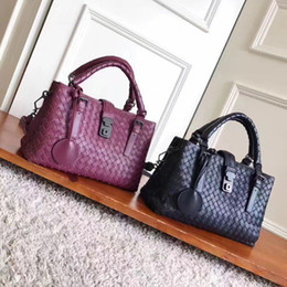 Perfect tote bag online shopping - Top quality leather totes female large volume casual bags knitting real soft leather perfect hardware cm hasp handbags