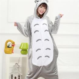 onepiece jumpsuits 2019 - Totoro Kigurumi Onesie Adult Women Animal Pajamas Suit Flannel Warm Soft Sleepwear Onepiece Winter Jumpsuit Pijama Cospl